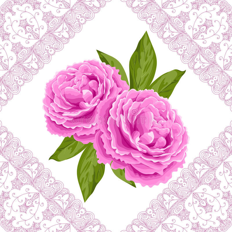 Vintage flower card with peonies royalty free illustration