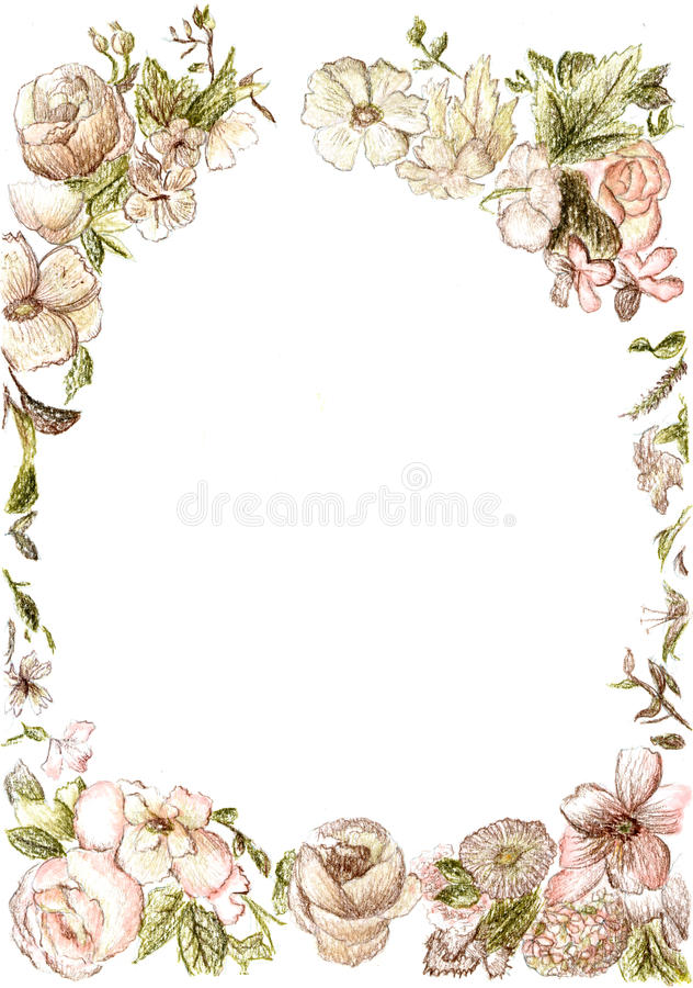 Vintage Flower Frame Stock Illustration Image Of Hand
