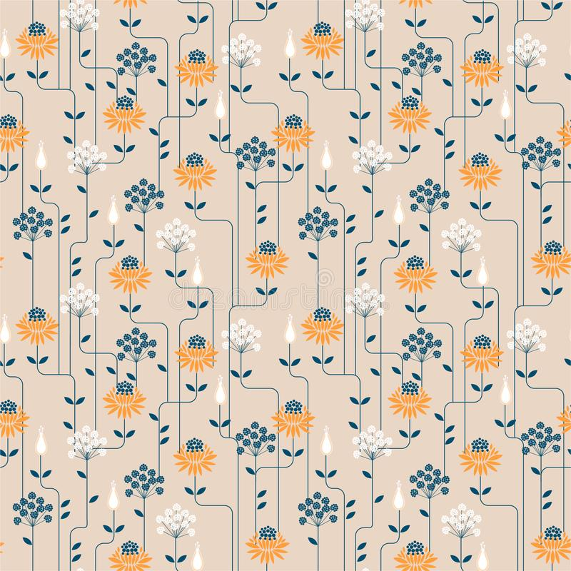 Vintage Flower geometric pattern with line . Seamless vector background.Ornament design for fashion fabric,web,wallpaper amd all. Prints on light beige stock illustration