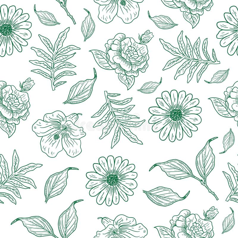 Cool vintage flower illustration pattern. Vintage flower illustrations, for background templates, decorations and for all needs royalty free illustration