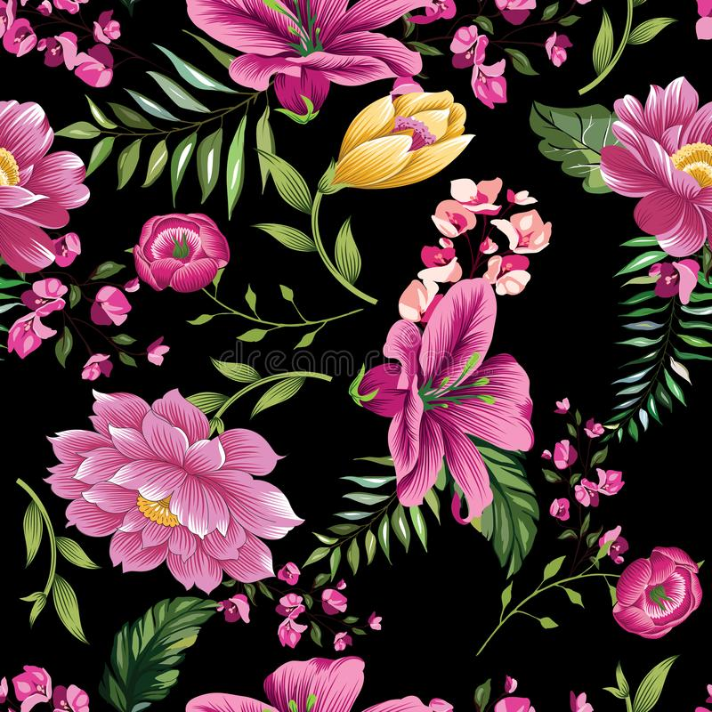 Vintage flower pattern on black background. Tropical flowers design colored royalty free illustration