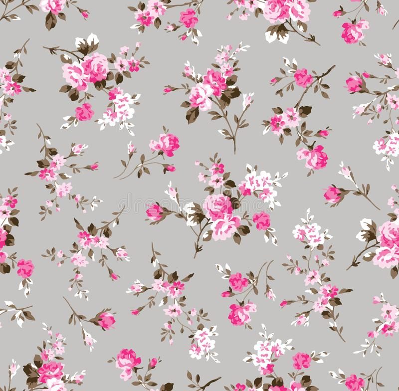 Free Vintage Flower Pattern On Grey Stock Photography - 132634572