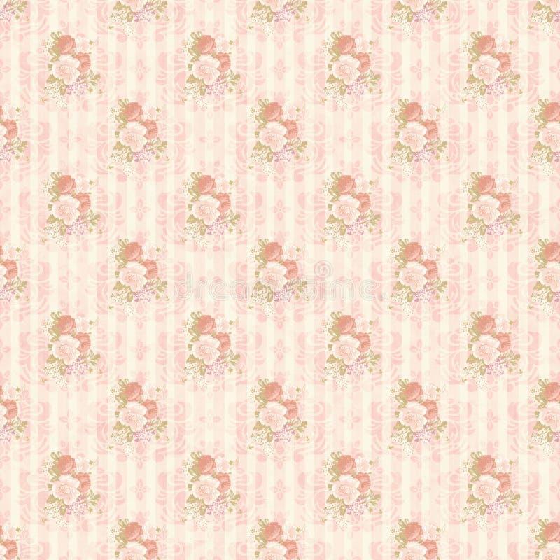 Vintage flower pattern wallpaper. Old seamless rose pattern wallpaper stock photos