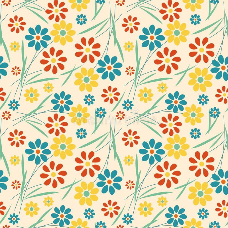 Vintage flower seamless pattern on blue background. Illustrator art,vector art stock illustration