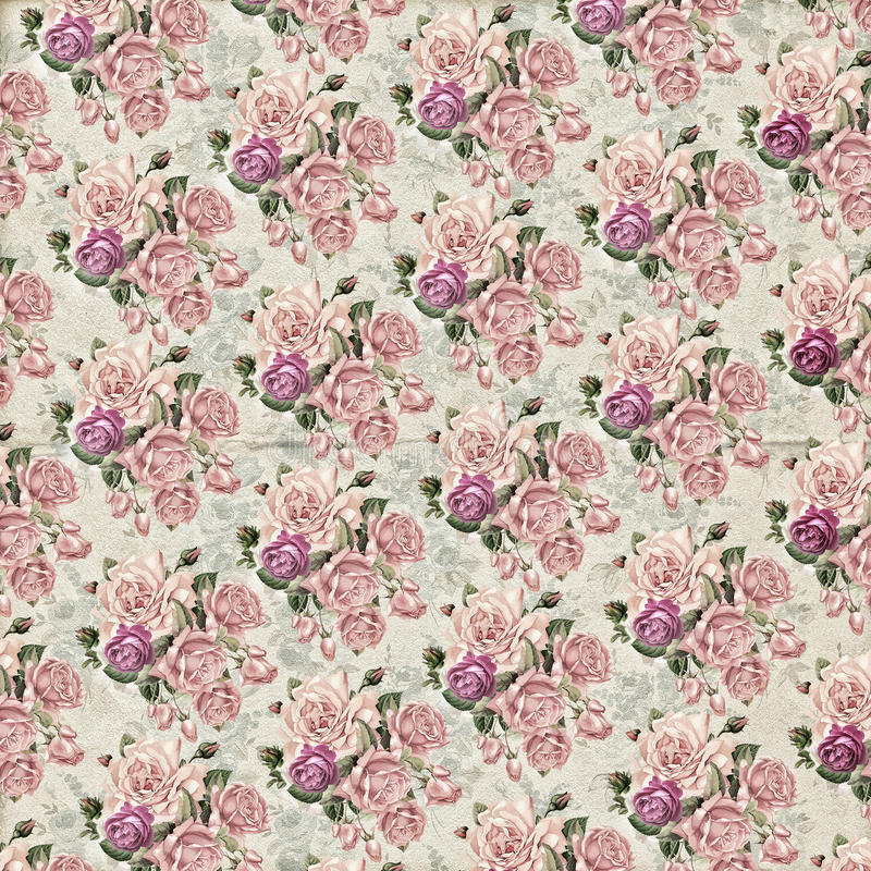 Vintage flower wallpaper texture. Old vintage wallpaper with roses for your project royalty free stock photography