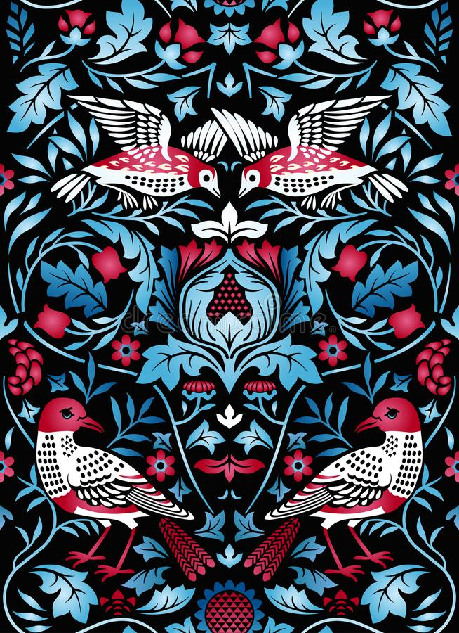 Vintage flowers and birds seamless pattern on black background. Color vector illustration. royalty free stock photos