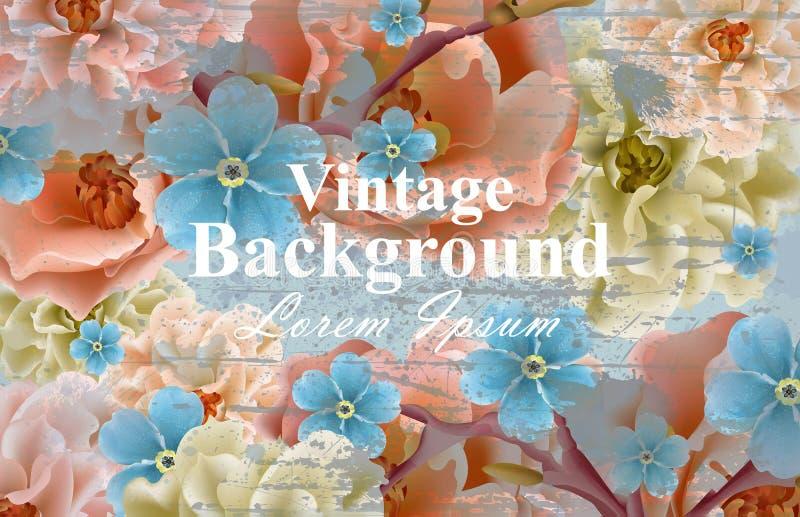 Vintage flowers card Vector. Spring Beautiful floral decor. Banner poster template 3d backgrounds. Vintage flowers card Vector. Spring Beautiful floral decor vector illustration