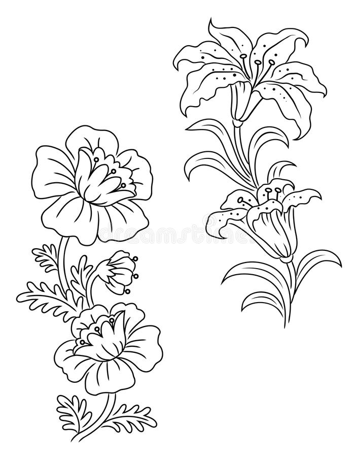 Download Vintage flowers and decor stock vector. Image of illustration - 26021303