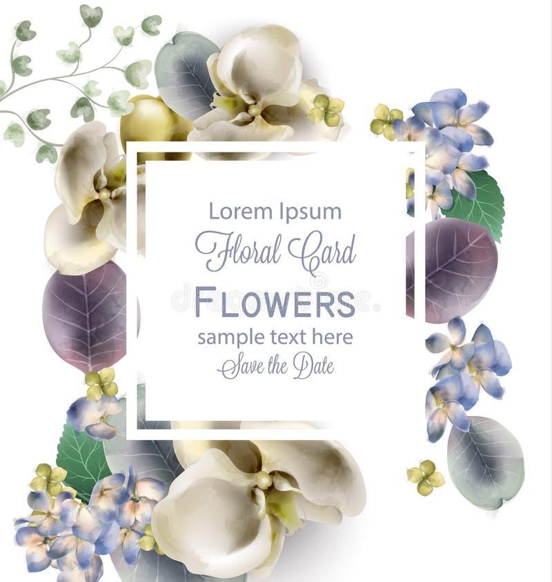 Vintage flowers frame Vector watercolor. Delicate seasonal background. Beautiful spring floral designs royalty free illustration
