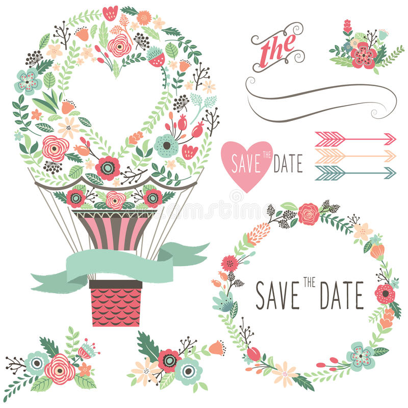 Free Vintage Flowers Hot Air Balloon Royalty Free Stock Images - 57517449