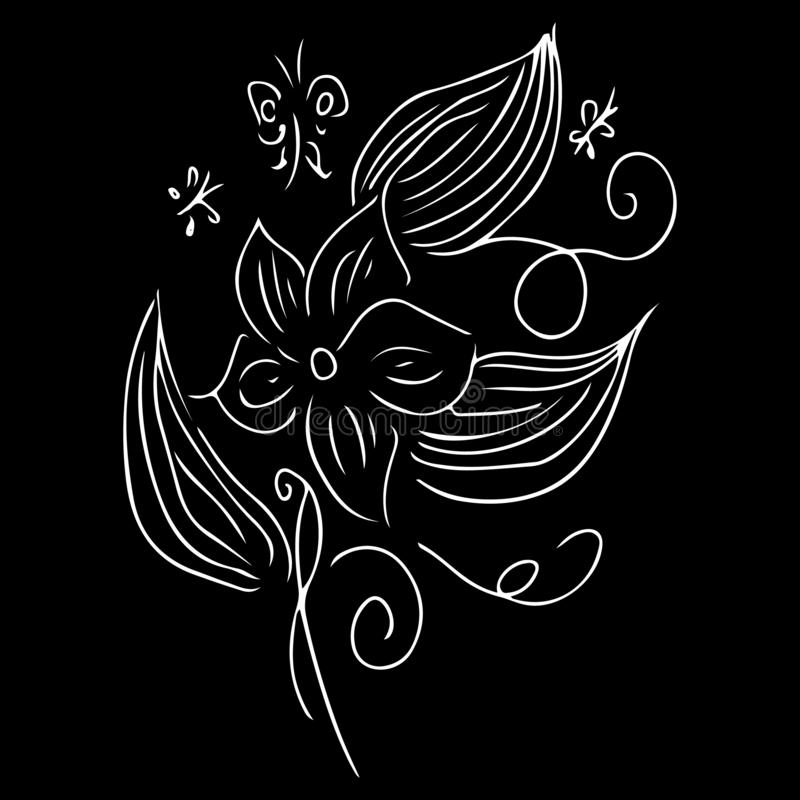 Vintage flowers outline hand, great design for any purposes. Vector hand drawn illustration. Vintage floral pattern. Floral design. Element. Doodle vector stock illustration
