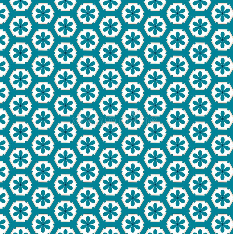 Vintage flowers in polygon seamless pattern stock photos