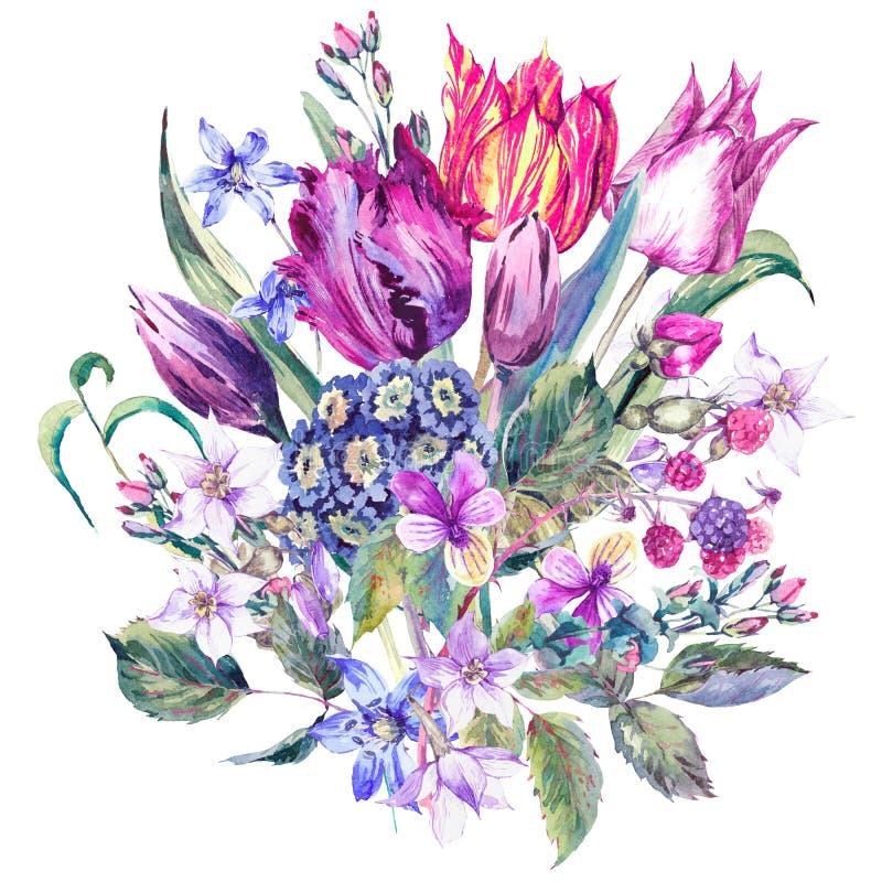 Vintage Flowers Watercolor Bouquet, Purple Tulips royalty free illustration