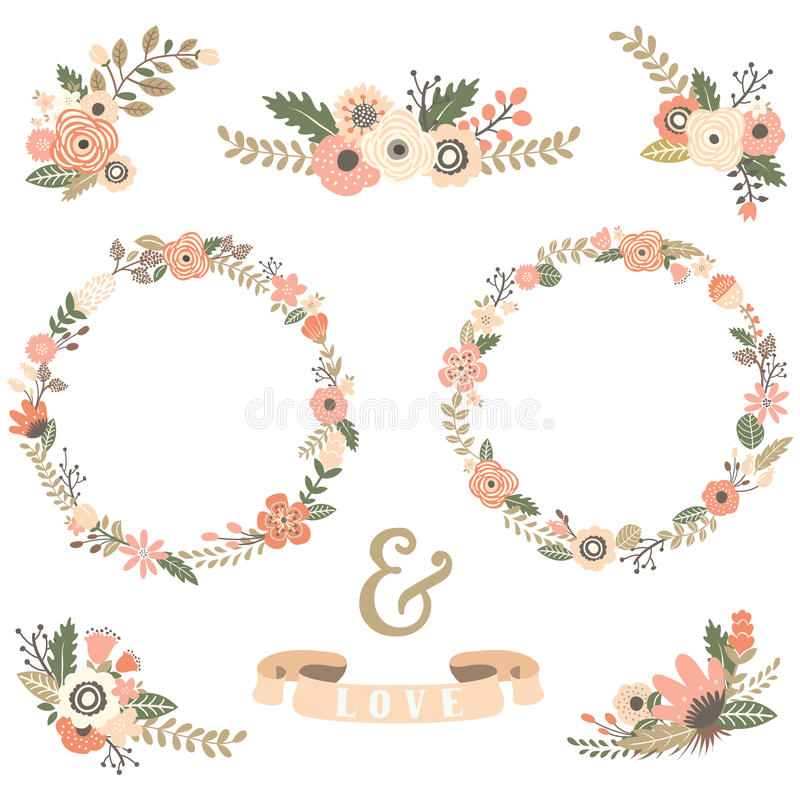 Vintage Flowers Wreath Collections. A Vector Illustration of Vintage Flowers Wreath Collections stock illustration