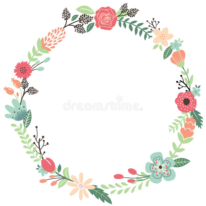 Vintage Flowers Part - 16: Download Vintage Flowers Wreath Stock Vector. Illustration Of Display -  57299491