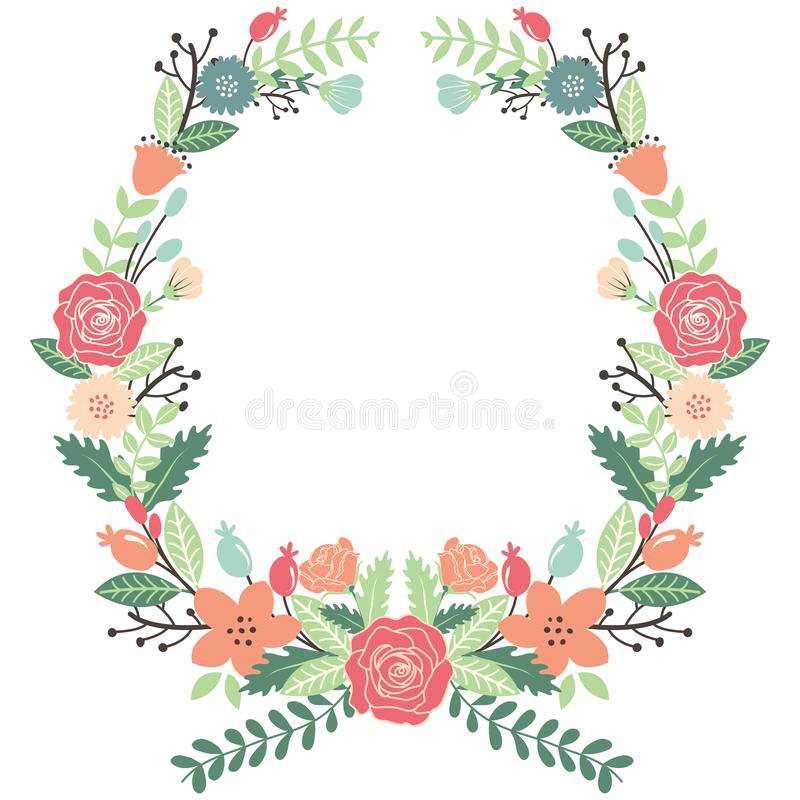 Good Vintage Flowers Part - 14: Download Vintage Flowers Wreath Stock Vector. Illustration Of Collage -  57299573