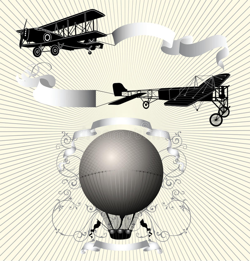 Vintage Flying Machines royalty free illustration