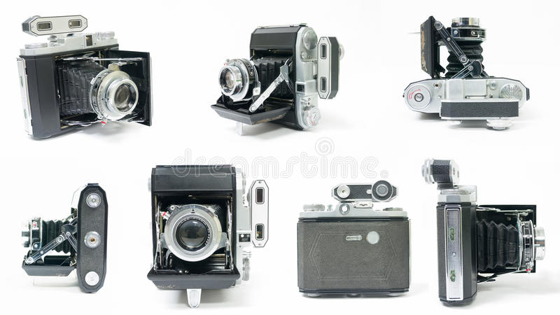Vintage Folding Camera Montage Collage stock image