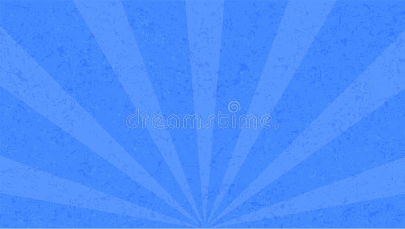Vintage, fondo azul con los rayos de sol en el estilo de broadway ilustración del vector