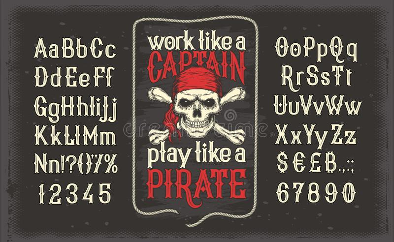 Vintage font of letters and numbers with a frame and a pirate skull vector illustration