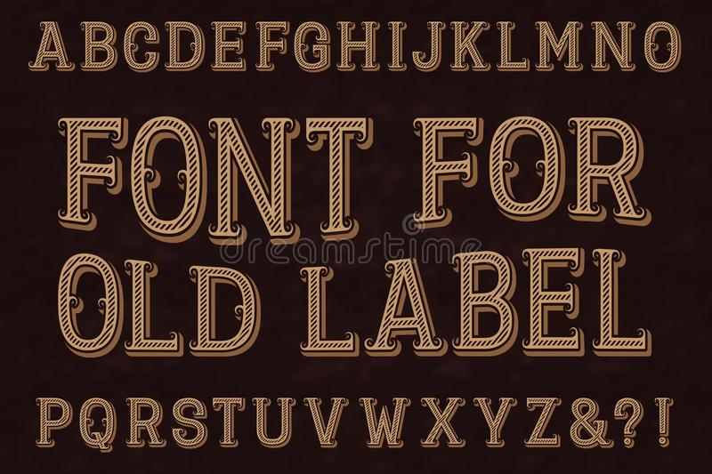 Vintage font for old label. Isolated english alphabet royalty free illustration