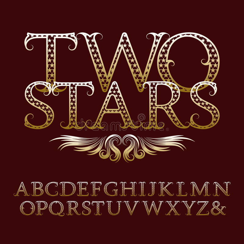 Vintage font in rock n roll style. Gold patterned letters with tendrils. Vintage font in rock n roll style. english alphabet with text Two Stars stock illustration