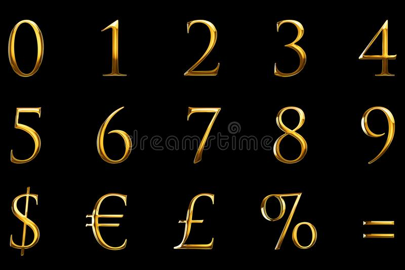 Vintage font yellow gold metallic numeric letters word text series with euro, dollar, percent, equal, sterling, symbol sign on bla stock illustration