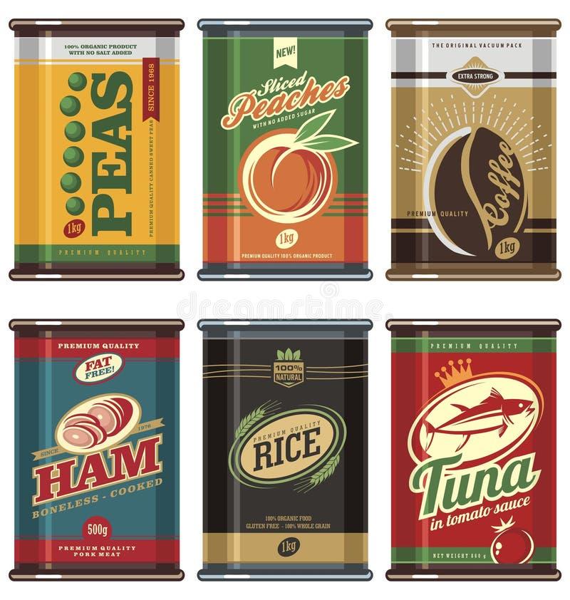 Vintage food cans vector illustration