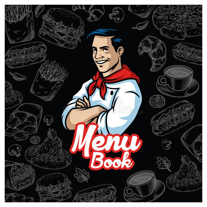 Vintage food menu design with chef character royalty free illustration