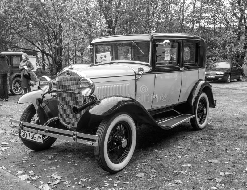 Vintage Ford A car in black and white parked royalty free stock photos