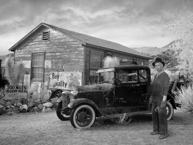Vintage Ford Car, Great Depression, Farmer, Farm. Scene of the Great Depression with an old vintage Model T Ford and a poor farmer man. The automobile is an royalty free stock images