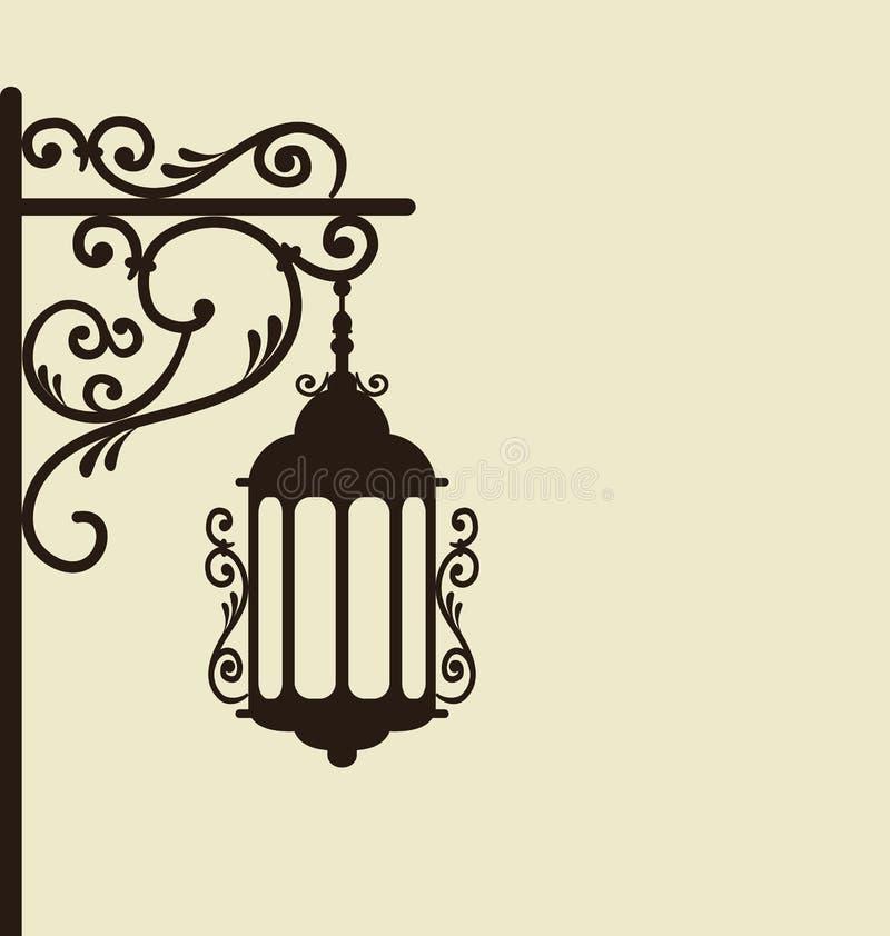 Vintage forgeant la lanterne fleurie de rue illustration libre de droits