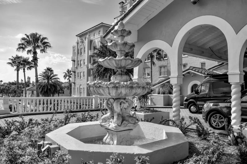 Vintage Fountain close to main entrance of The Don Cesar Hotel. The Legendary Pink Palace of St. Pete Beach. royalty free stock photos