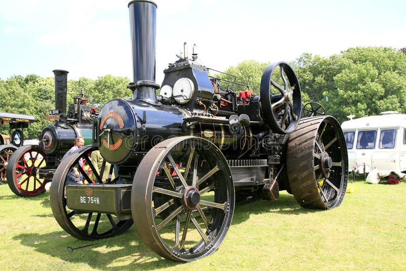 Vintage 1917 Fowler Ploughing engine. ELVASTON, DERBYSHIRE, UK. JULY 04, 2015. Vintage 1917 Fowler BB ploughing engine named Gordon on display at the Elvaston royalty free stock photography