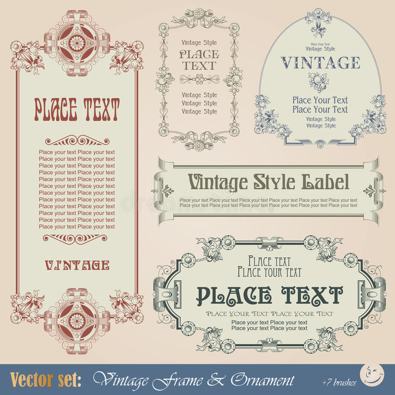 Download Vintage frame stock vector. Image of calligraphy, label - 22714855