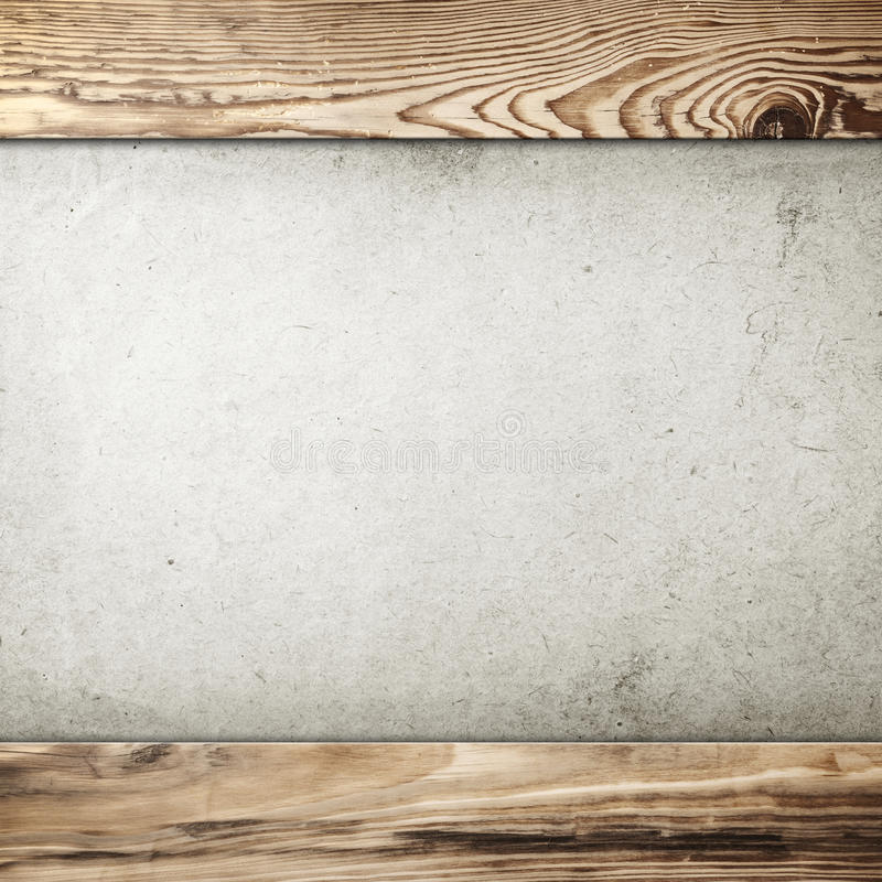 Vintage Frame. Grunge paper background in wood frame with room for text stock photo