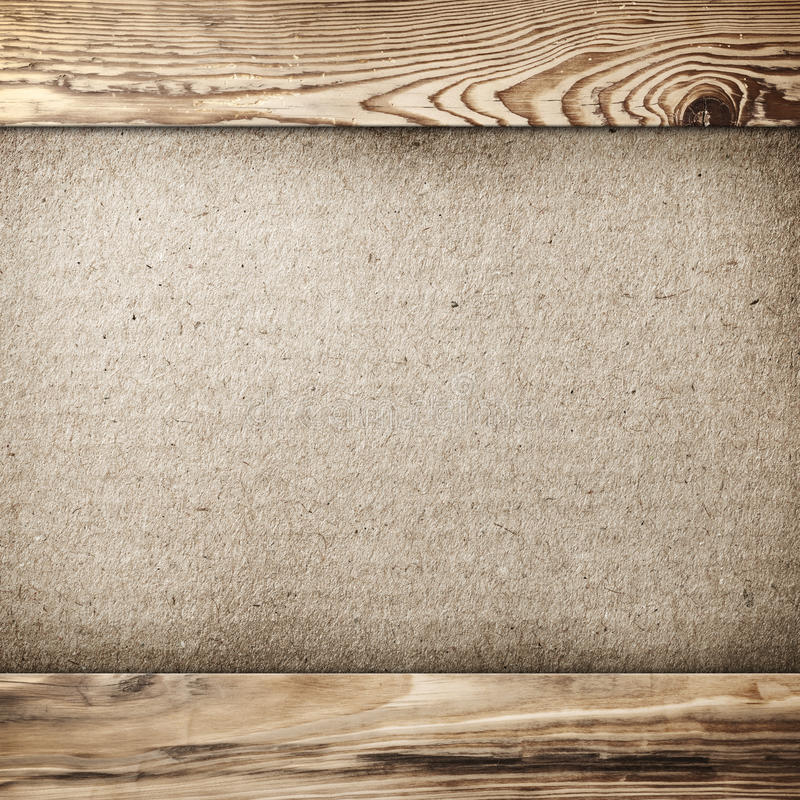 Vintage Frame. Grunge cardboard background in wood frame with copy space royalty free stock images