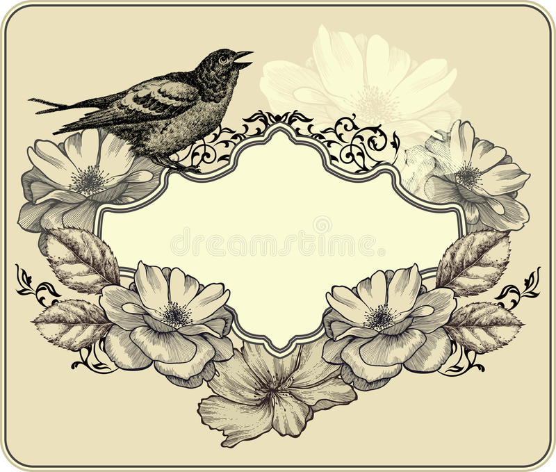Vintage frame with bird and blooming roses. Vector royalty free illustration