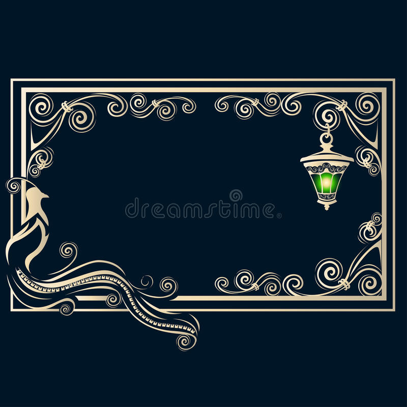 Vintage frame with a bird royalty free stock image