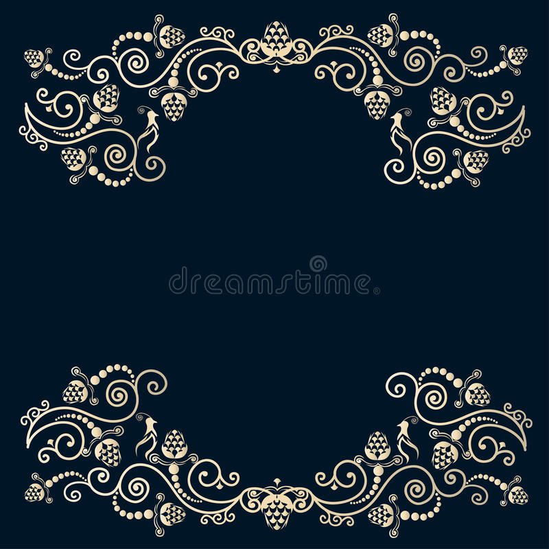 Vintage frame with birds stock illustration