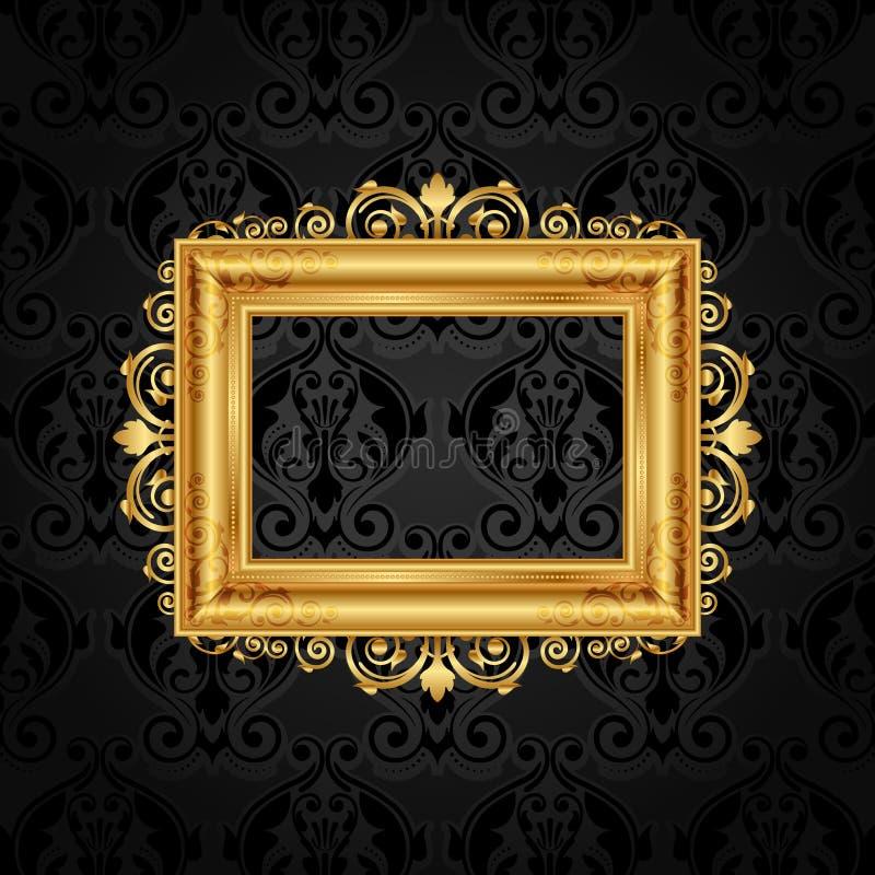 Vintage frame on black wall. Vector vintage frame on black wall stock illustration