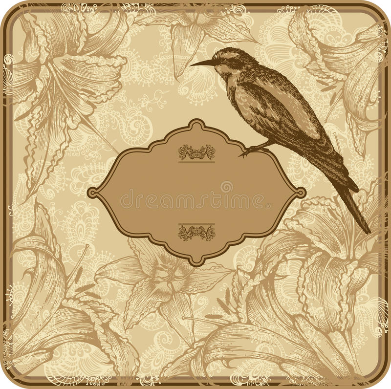 Download Vintage Frame With Blooming Lilies And Birds, Hand Stock Vector - Image: 23029474