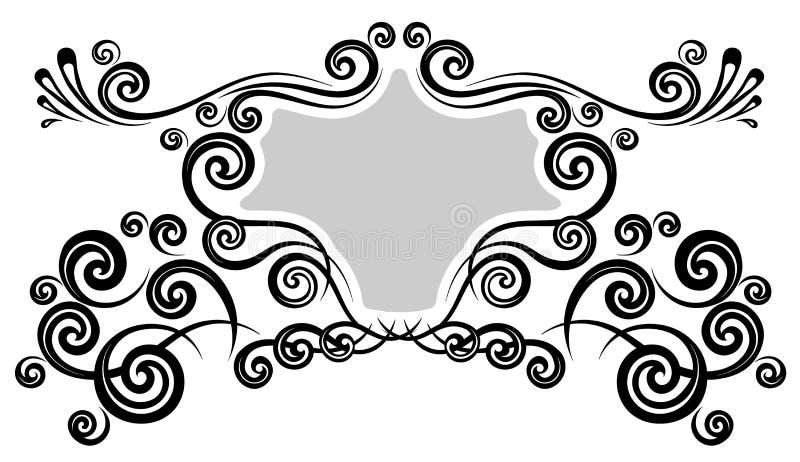 Vintage frame border. For monogram floral ornament stock illustration