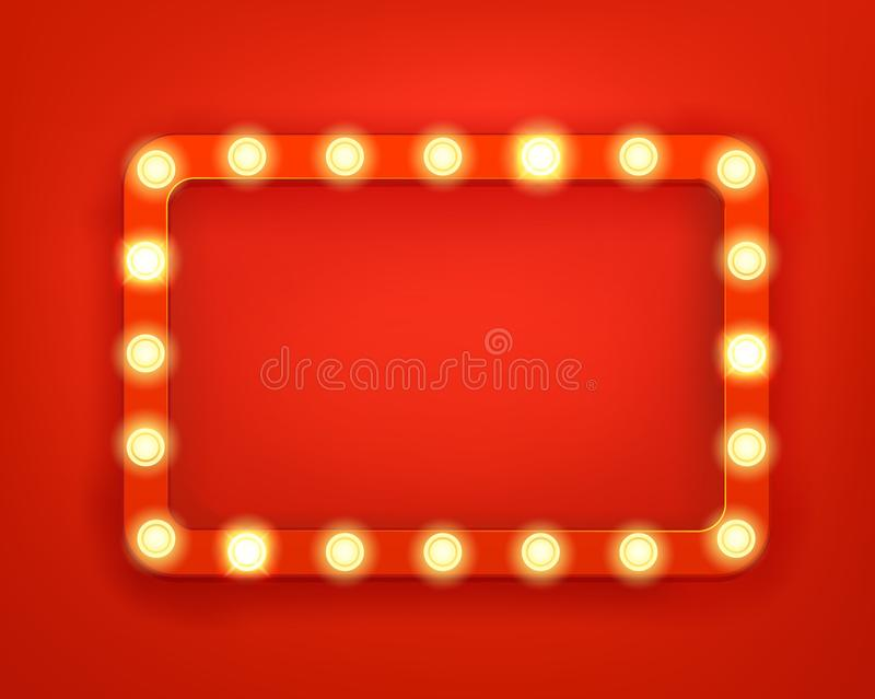 Vintage frame with bright lightbulbs vector illustration