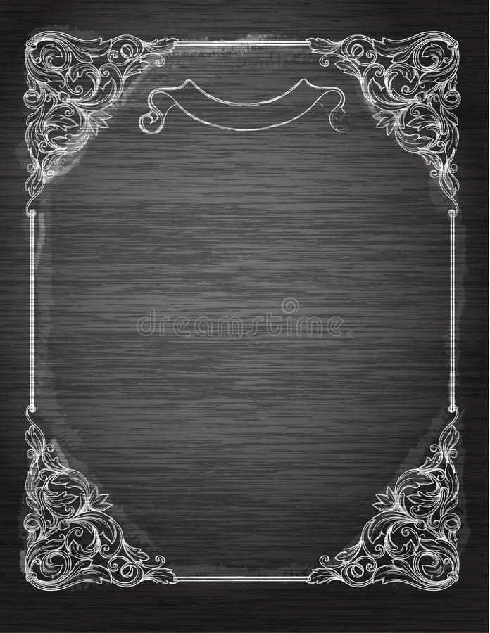 Vintage frame on the chalkboard. royalty free stock photography