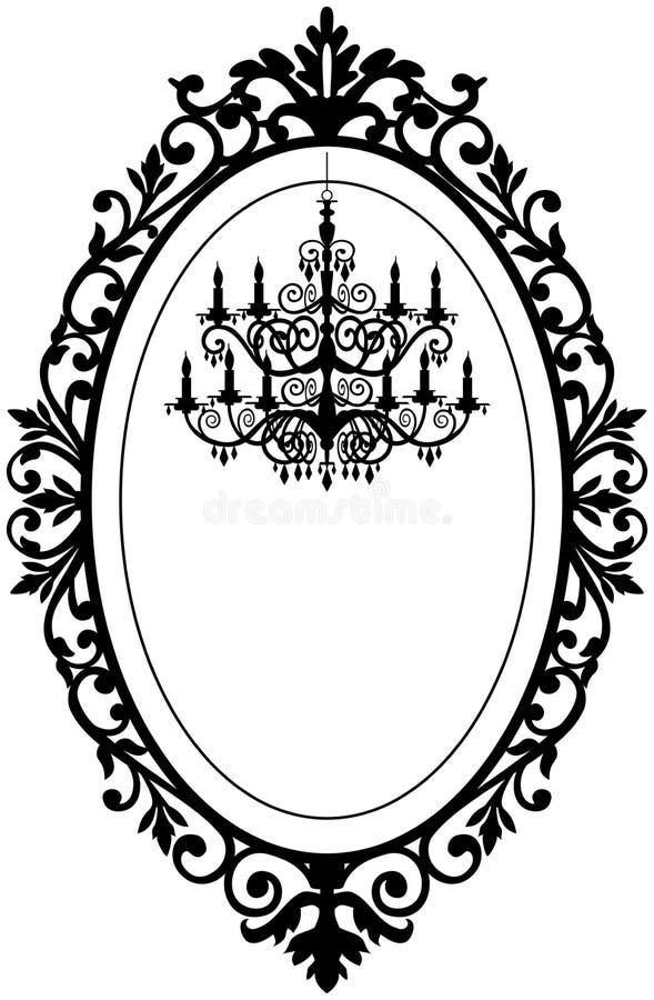 Vintage frame with chandelier royalty free illustration