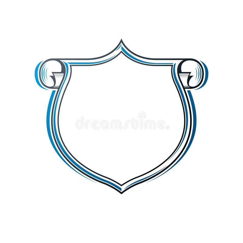 Vintage frame with clear copy-space and cartouche, heraldic design, protection shield. Antique Coat of Arms decorative emblem iso. Lated vector illustration stock illustration