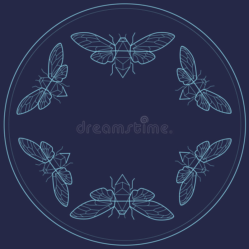 Vintage frame design with bugs. Flat line art royalty free stock photo