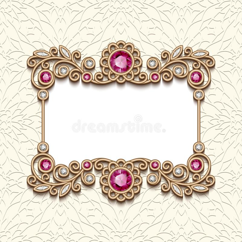Vintage frame with diamonds and ruby gems stock illustration