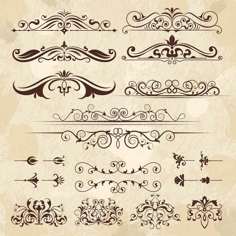 Vintage frame elements. Calligraphy borders and corners filigree classic retro vector design template vector illustration